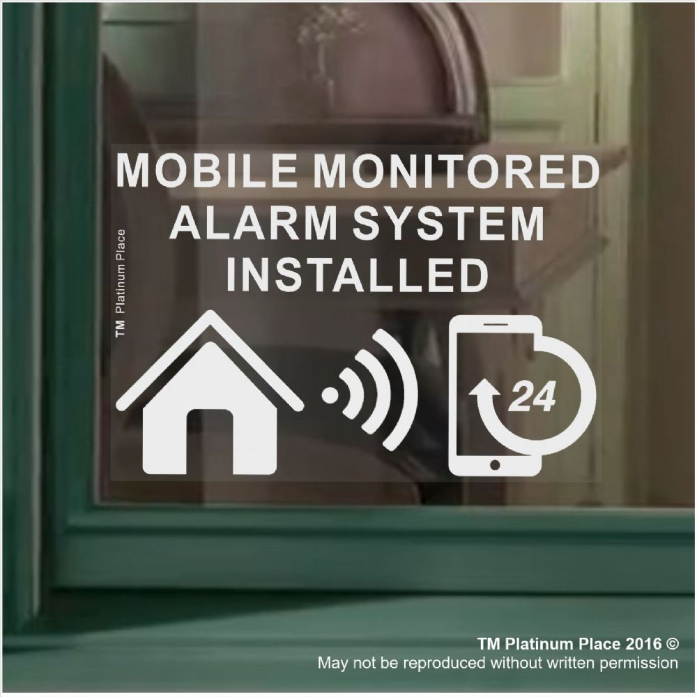 1 X MOBILE Monitored Alarm System Installed Sticker 130mm